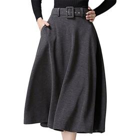 (エスティーリーフ)Esty leaf レディース スカート フレア ベルト付き ミモレ丈 膝下 ゆったり 上質 ロング 灰 グレー M