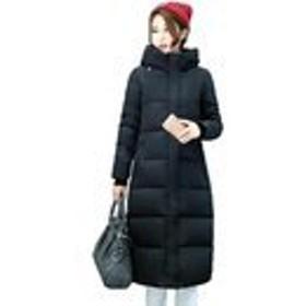 GuDeKe 棉服コート ダウンコート ロング丈 レディース ダウンジャケット 大きいサイズ ロング 4色 中綿入れ 厚手 暖かい きれいめ 無地 エレガント 着痩せ ゆったり 柔らかい ブラック2XL