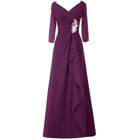 Dresstell レディーズ ロング丈 結婚式ドレス 披露宴ドレス 長袖 アップリケ付き お呼ばれ フォーマルドレス シンプルシフォン ママのタイプ 二次会ドレス 葡萄色 21w号