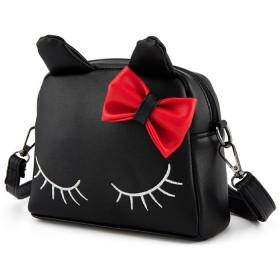 [クイーンビー] ネコ ポシェット かわいい キッズ リュック 2way ブラック