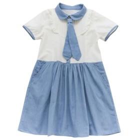 キャンディ少女 ロリータ風 レディース ワンピース ドレス ネクタイ ひざ丈 シャツワンピ 丸襟 ポケット ホワイト ブルー