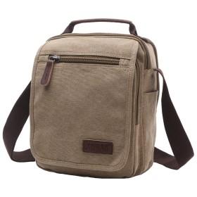Sunrwkt ショルダーバッグ 肩掛けバッグ メンズ ビジネス 通学 高品質 帆布製 縦型 小さめ メッセンジャー バッグ 8858 Khaki