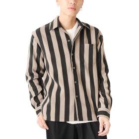 ブラックストライプ L (ベストマート)BestMart 総柄 プリント ピーチ 起毛 長袖 オープンカラー シャツ メンズ 624433-006-001