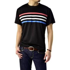 (フラグオンクルー) FLAG ON CREW 吸汗速乾 Tシャツ メンズ 半袖Tシャツ ボーダー ストライプ B1M / L ボーダー・ブラック