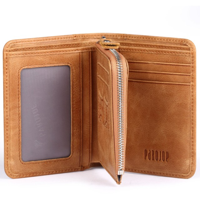 [パボジョエ]Pabojoe 財布 二つ折り 折りたたみ財布 メンズ ウォレット 本革 職人が作る 薄型 人気 ブランド 2色 (ブラウン-01)