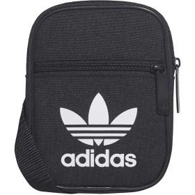 [アディダス]Adidas Originals オリジナルス トレフォイル ロゴ クロスボディ斜めがけショルダー ミニバッグ ポーチ [並行輸入品] (ブラック (黒ふち))
