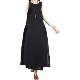 BeiBang(バイバン)ワンピース レディース ノースリーブ 綿麻 ロング丈 韓国ファッション 大きいサイズ 薄手 夏物 マキシワンピース レイヤード系 (黒)