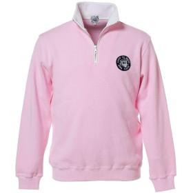 (シナコバ) SINA COVA ジップアッププルオーバー ハーフジップ トレーナー 綿 片畦 定番 メンズ マリンウェア ゴルフウェア (ライトピンク) LLサイズ 10000041