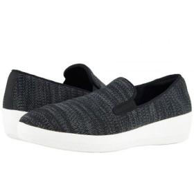 FitFlop(フィットフロップ) レディース 女性用 シューズ 靴 ローファー ボートシューズ Superskate Uberknit Loafers - Black/Soft Grey 7.5 M (B) [並行輸入品]