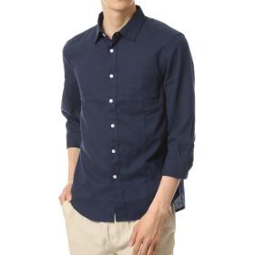 [トップイズム] メンズシャツ 7分袖 麻 リネン 綿 無地 ミリタリーシャツ 七分袖 11-ネイビー7分袖 L