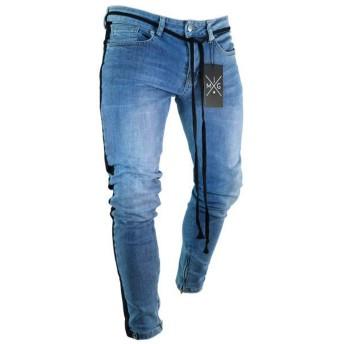 Pizoff(ピゾフ) メンズ ジーンズ ブルー サイドライン ストレッチ スキニー テーパードパンツ ジッパー オシャレ 薄手 デニムパンツ カジュアルAM021-Black-L