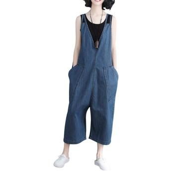 (ニカ) レディース サロペット デニム バックパンツ 大きいサイズ つりズボン ゆったり サロペット つなぎ オールインワン パンツ レジャー パンツ カジュアル ズボン サロペット レディース対応ブルーT2
