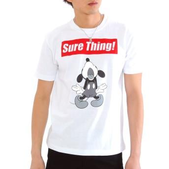 Disney (ディズニー) ミッキーTシャツ Tシャツ 半袖 ボックスロゴ 宇宙柄 ロゴ 【e131】 (L, Bホワイト)