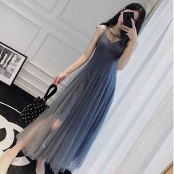 ワンピース ドレス パーティードレス ロング ワンピースドレス 袖なし マキシ チュール 透け感 ふんわり シンプル フェミニン スレンダー
