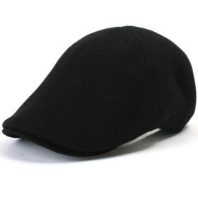 (イリリリー)ililily ソフトコットン ニュースボーイ フラットキャップ アイビー ストレッチ ドライバー ハンチング帽 (Black)