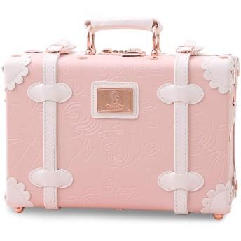 Uniwalker かわいい 子供 スーツケース 復古主義 ハンドバッグ 可愛い キャリーケース 軽量 小型 キャリーバッグ (12'', ライトピンク)