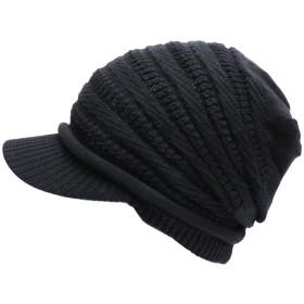 帽子 キャスケット春夏ねじり編み (ブラック)