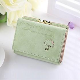 キラキラの傘飾りがカワイイ三つ折り財布 (グリーン)