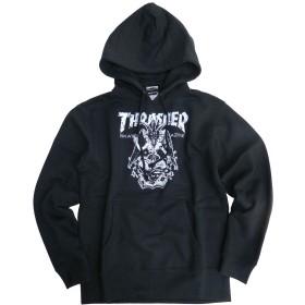 THRASHER パーカー バフォメット スウェットパーカー メンズ スラッシャー ロゴ プリント (ブラック/ホワイト, Mサイズ)