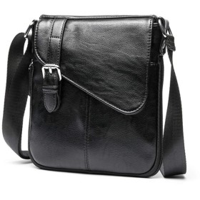 [マローサム] 職人が手掛ける 小型ショルダーバッグ メンズ 黒 ブラック