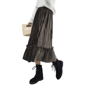 [コティスエルト]ベロア 素材 ロング プリーツ スカート ウエスト ゴム ゆったり 滑らかな 肌触り 【全5色】 (カーキ)