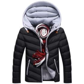 JapHot メンズ ダウンジャケット 防寒コート フード付き ブルゾン 中綿ジャケット 軽量 冬 暖かい ダウンコート ビジネス シンプル 無地 冬服 防風 保温性 大きいサイズ