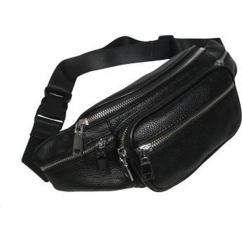 【GRACTAKE】 ウエストバッグ ウエストポーチ 本革 レザー メンズ ユニセックス 男女兼用 ポケット多数(ブラック)