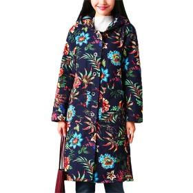 国立風の綿のコート大サイズの女性の秋と冬の新しい美しいプリントフード付き長袖のロングカーディガンの綿のジャケットの女性 M-2XL (ネイビー, 2XL)