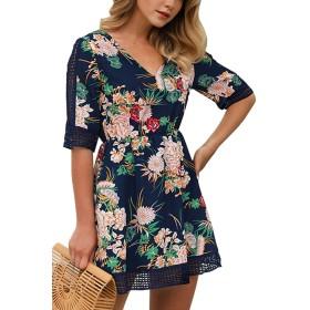 レディース夏のドレス膝丈花プリント半袖Vネック Darkblue L
