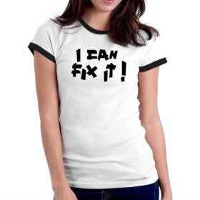 I can fix it duck tape リンガー 女性の Tシャツ