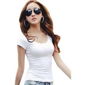 夏日 3色 レディース おしゃれ 半袖 Tシャツ 無地 かわいい 女性 クルーネック 女の子 上着 5サイズ S、M、L、 XL 、XXL(白+黒+ピンク)   (XL, ホワイト)