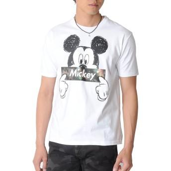 Disney (ディズニー) ミッキーTシャツ Tシャツ 半袖 ボックスロゴ 宇宙柄 ロゴ 【e131】 (XL, ホワイト)
