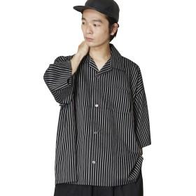 (アンリラクシング) Unrelaxing 開衿ストライプシャツ ベーシックオープンカラーシャツ ストライプシャツ UR-553 FREE ブラック UR-553_BK01F001