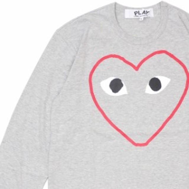 (2019新作)新品 プレイ コムデギャルソン PLAY COMME des GARCONS MENS HEART OUTLINE L/S TEE 長袖Tシャツ GRAY グレー 灰色 TOPS