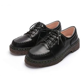 [THLD] オックスフォードシューズ レディース 23.5cm ラウンドトゥ 学生 韓国風 ローヒール ローカット メンズライク フラット やわらかい 歩きやすい 痛くない 通勤 お出かけ パンプス 革靴 ブラック おじ靴 レースアップシューズ