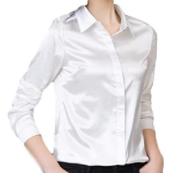 KIRITOA(キリトア) 美光沢 サテン 長袖 ブラウス シャツ (XL, ホワイト)