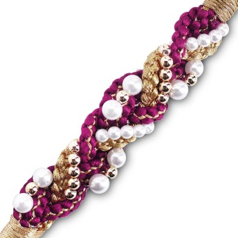 絹100% 手組み 振袖用 パール飾り 帯〆 (WS1-19)