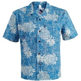 アロハシャツメンズ 半袖シャツ ハイビスカス柄 大きいサイズ メンズ 藍地/パイナップル模様 S