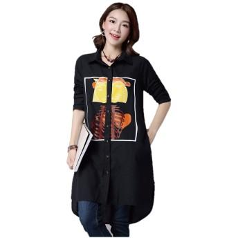 チュニックシャツ ラペルシャツ シャツ ラペルワンピース ロングシャツ イラストプリント フロントイラスト 綿シャツ コットンシャツ チュニック ワンピース 着回し 長袖 カジュアル K9051(L, ブラック)