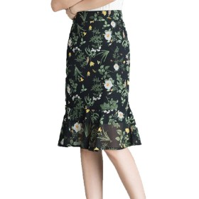 女性ハイウエストフローラルスカートシフォンフィッシュテールショートスカート女の子ビーチ自由奔放に生きるラインカジュアル花柄プリント夏のスカート (Color : 緑, Size : 4XL)