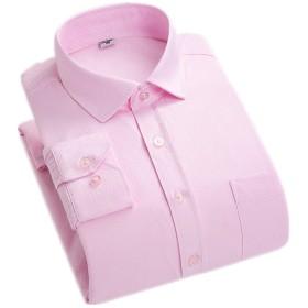 Angelo ワイシャツ メンズ ビジネスシャツ 裏起毛 メンズ Yシャツ 保温 暖かい オックス カジュアルシャツ 長袖 ビジネスシャツ トップス フォーマル あったか 通勤 スリム (XL, ピンク)
