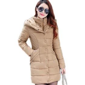 Proslen ダウンコート レディースダウン ダウンジャケット アウター コート 防風 防寒 コートロング フード付く カーキ XL