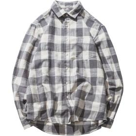 (ハバー)Habor メンズ チェック柄シャツ 起毛シャツ ネルシャツ カジュアル シャツ 長袖 スタイリッシュ 綿 M