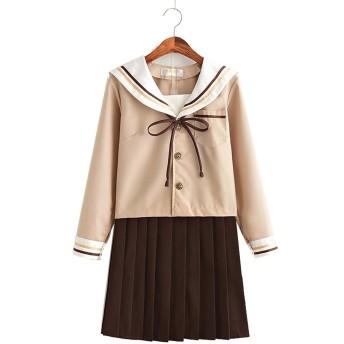 Suyazhi 日本のJK制服セーラー服ソフト姉妹スカート学生制服冬の日本のクラスのスーツプリーツスカートカレッジ風スーツ (XXXL, ロングスリーブトップ+スカート)