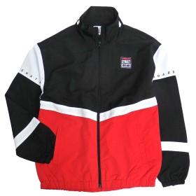 VISION トラックジャケット 切り替え ジャケット ビッグシルエット メンズ ナイロンジャケット (LLサイズ, ブラック)