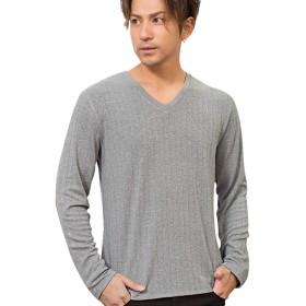 (キャバリア)CavariA メンズ Vネック 長袖 Tシャツ ロンT ワイド テレコ ストレッチ 無地 シンプル 44(M) 10(GRY/グレー)【-】