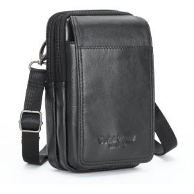 [メガダス] Meigardass ベルト ポーチ ウエストポーチ ショルダー バッグ 本革 ショルダーストラップ付き マグネット式 多機能 iphone X iphone8/7/7plus/6splus Sony Xperia XZs XperiaZ5/Z4 (ブラック)