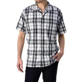 (フラグオンクルー) FLAG ON CREW 開襟シャツ メンズ 半袖 麻混 リネンシャツ ゆったりサイズ 無地 ストライプ / A8N / M ホワイト系チェック・01