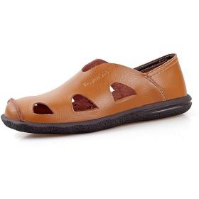 [GoldFlame-JP] スリッポン 夏用靴 メンズ カジュアルシューズ サンダル ローカット 革製 通気性 排水 シンプル 軽量 クッション性 滑り止め ディリー ビジネスサンダル ビーチ リゾート 夏 ブラウン