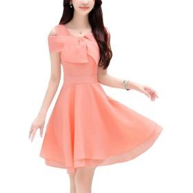 HAPPYJP ワンピース シフォンワンピース ドレス レディース 肩出し 優雅 通勤 上品 4color (M, ピンク)